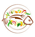 fish on a plate with vegetables vector image
