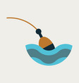 fishing float flat icon with color background vector image