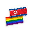 flags north korea and rainbow gay pride vector image
