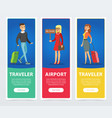 flat people in airport banners set vector image vector image
