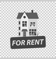 for rent sign with house home for rental in flat vector image vector image