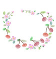 frame made of cherries and flowers vector image