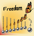 freedom concept with iron broken chains and vector image