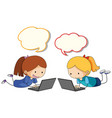 girl playing computer with speech balloon vector image vector image