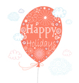 greeting card with a balloon vector image vector image