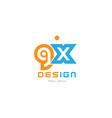 gx g x orange blue alphabet letter logo vector image vector image