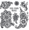 Hand-drawn mehendi flowers set vector image