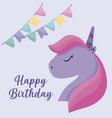 happy birthday card with cute head unicorn vector image vector image