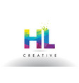 hl h l colorful letter origami triangles design vector image vector image