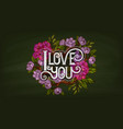 I love you retro style lettering decorated