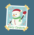 instant photo frame snowman christmas vector image vector image