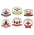 Japanese cuisine seafood signs emblems set vector image vector image