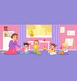 kindergarten babies happy children with teacher vector image vector image
