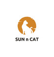 kitty cat sun sunset silhouette logo design vector image