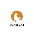 kitty cat sun sunset silhouette logo design vector image