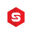 letter s logo combined with red hexagon vector image