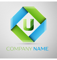 Letter U logo symbol in the colorful rhombus vector image
