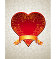 lovely red heart with golden ribbon vector image