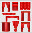 luxury red curtains transparent set vector image vector image