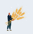 man with big sheaf wheat character on white vector image vector image