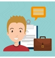 man with suitcase and papers isolated icon design vector image