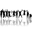 men and women jumping vector image vector image