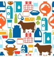Milk seamless pattern with dairy products and vector image vector image