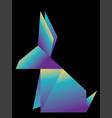 neon origami rabbit vector image vector image