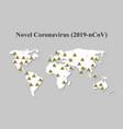 novel coronavirus covid-19 on world map spread of vector image vector image