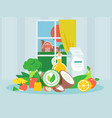 organic products fresh and clean food for healthy vector image