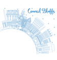 outline council bluffs iowa skyline with blue vector image vector image