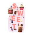 people eating sweet food concept tiny male and vector image