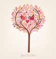 Pink romantic background with birds in love vector image vector image