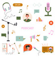 podcast icons set vector image vector image
