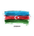 realistic watercolor painting flag of azerbaijan vector image vector image