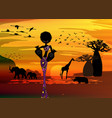 safari savannah african curly woman and animals vector image