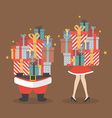Santa claus and Santa woman holding a pile of gift vector image vector image
