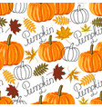 seamless pattern with autumn leaves and pumpkins vector image vector image