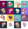 set happy mothers day cards with greeting text vector image