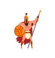 spartan muscular warrior in golden armor and red vector image vector image