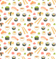 Sushi and rolls seamless pattern on white vector image vector image
