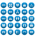team building training icons set vetor blue vector image vector image