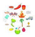 thailand symbols icons set cartoon style vector image vector image
