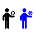 the man is holding bitcoin icon vector image