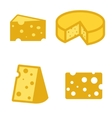 yellow cheeses icons set vector image