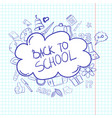 back to school doodle label hand drawn on white vector image
