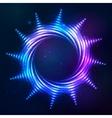Bright shining blue neon spiral sun at dark cosmic vector image