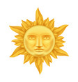 golden sun face antique crown of flames realistic vector image