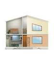 House cut with interiors and part facade vector image