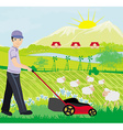 A of a man mowing the lawn vector image vector image